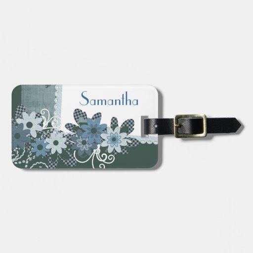 Personalized Pretty Blue Flowery Tag with Name Tags For Luggage