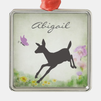 Personalized Pretty Doe and Butterfly Deer Holiday Metal Ornament
