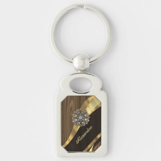 Personalized pretty faux dark wood Silver-Colored rectangle key ring