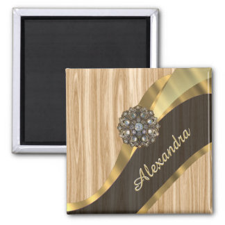 Personalized pretty faux oak wood square magnet