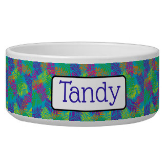 Personalized Pretty Green Blue and Purple Dog Bowl
