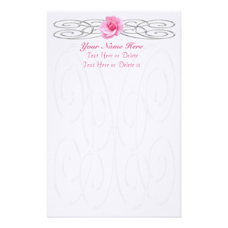 PERSONALIZED Pretty Linen Pink Rose Stationery Customized Stationery