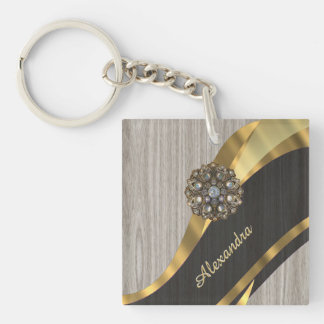Personalized pretty modern faux wood grain Double-Sided square acrylic key ring