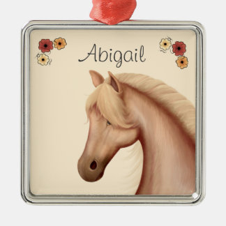 Personalized Pretty Palomino and Flowers Horse Metal Ornament