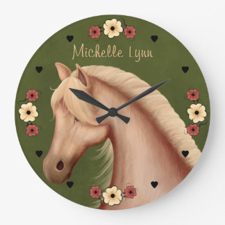 Personalized Pretty Palomino Pony n Flowers Horse Large Clock