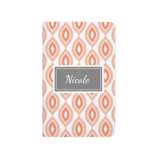 Personalized Pretty Patterned Journal Coral Print