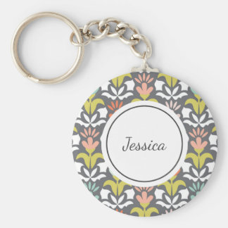 Personalized Pretty Patterned Keychain Gray Floral