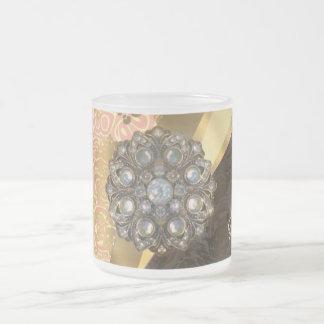 Personalized pretty peach girly damask pattern frosted glass mug
