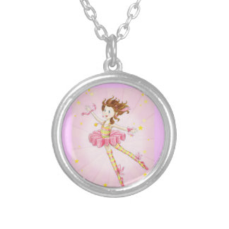 Personalized pretty pink gift ideas for girls round pendant necklace