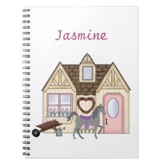 Personalized Pretty Ponies House Horse Notebook