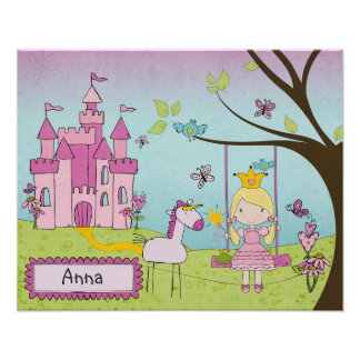 Personalized Princess Castle Art Poster
