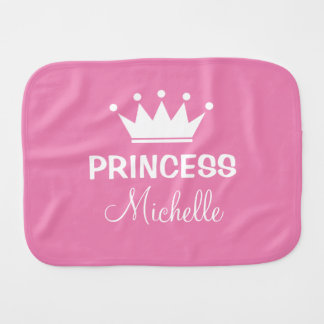 Personalized princess crown girly pink baby girl burp cloths