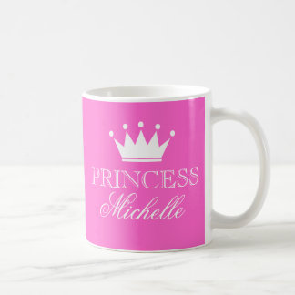 Personalized princess mug in pink with custom name