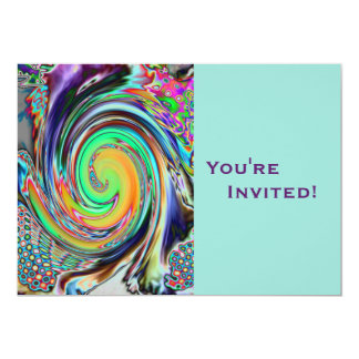 Personalized Psychedelic Vortex Birthday Party Card