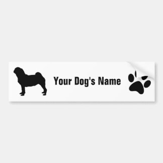 Personalized Pug パグ Bumper Sticker