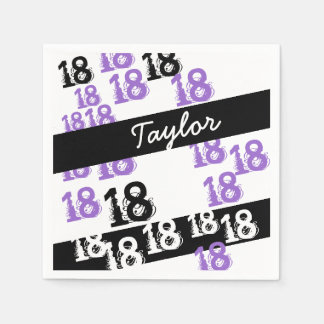 Personalized Purple 18th Birthday Disposable Serviettes