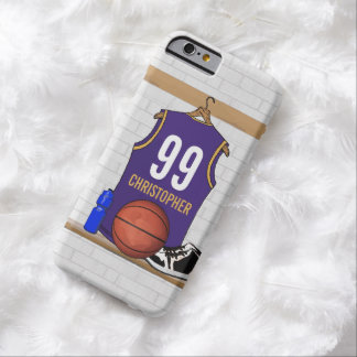 Personalized Purple and Gold Basketball Jersey Barely There iPhone 6 Case
