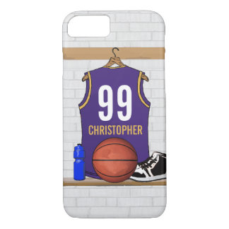 Personalized Purple and Gold Basketball Jersey iPhone 7 Case