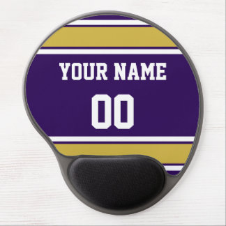 Personalized Purple and Gold Sports Stripes Gel Mouse Pad