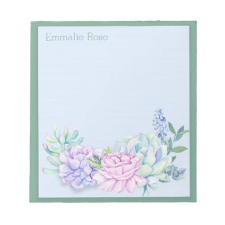 Personalized Purple and Green Succulents Notepad