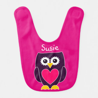 Personalized Purple and Pink Baby Girl Owl Bib