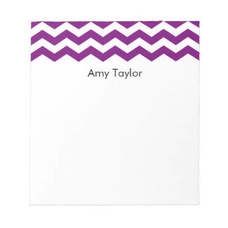 Personalized Purple and White Chevron Stripes Notepad