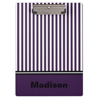 Personalized Purple and White Striped Clipboard