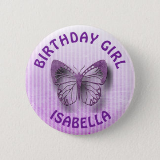 Personalized Purple Birthday Girl Butterfly Button