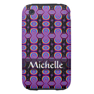 Personalized purple black abstract pattern tough iPhone 3 covers