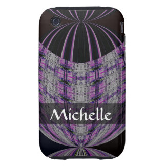 Personalized purple black global abstract tough iPhone 3 case