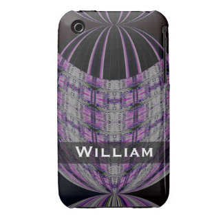 Personalized purple black global abstract iPhone 3 Case-Mate case