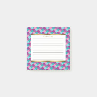 Personalized Purple Blue Gold Mermaid Scales 3x3 Post-it Notes