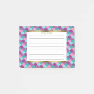 Personalized Purple Blue Gold Mermaid Scales Post-it Notes