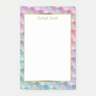 Personalized Purple Blue Green Gold Mermaid Scales Post-it Notes