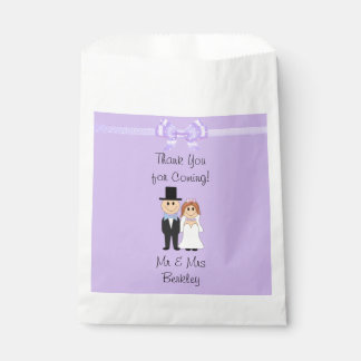 Personalized Purple Bride & Groom Candy Bags