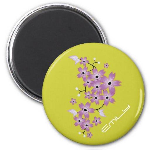 Personalized Purple Cherry Blossom Design Magnet Magnet