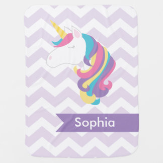 Personalized Purple Chevron Unicorn Baby Blanket