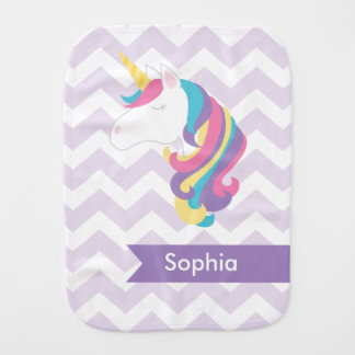 Personalized Purple Chevron Unicorn Burp Cloth