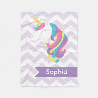 Personalized Purple Chevron Unicorn Fleece Blanket