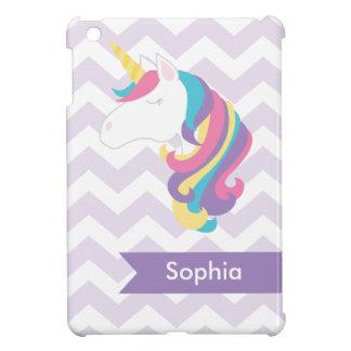 Personalized Purple Chevron Unicorn iPad Mini Case