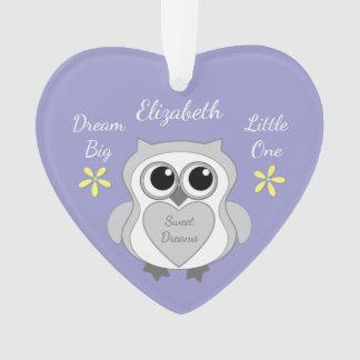 Personalized purple Cute owl Nursery Decor Ornament