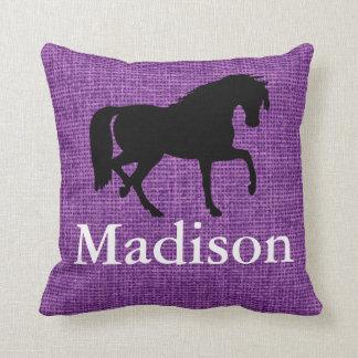 Personalized Purple Faux Burlap Horse Silhouette Cushions
