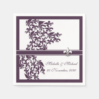 Personalized Purple Fleur de Lis Damask Style Disposable Serviette