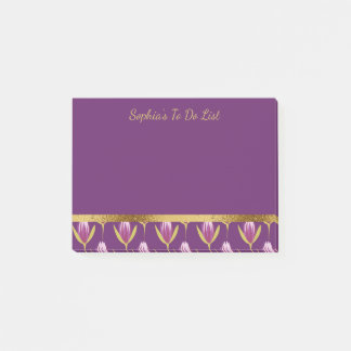 Personalized Purple Floral and Gold Pattern Post-it Notes