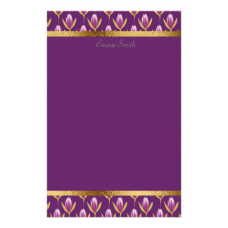 Personalized Purple Floral and Gold Stationery