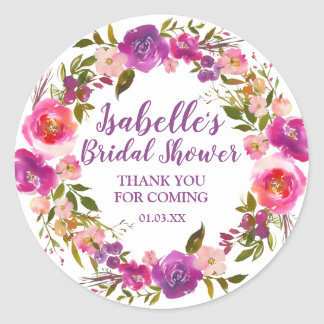 Personalized Purple Floral Bridal Shower Favor Classic Round Sticker