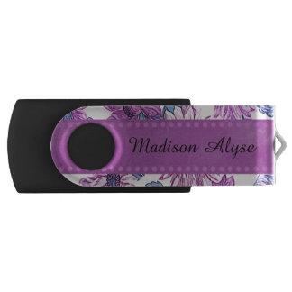 Personalized Purple Floral Flash Drive