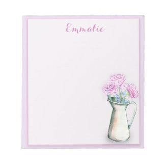 Personalized Purple Flowers in  Vase Notepad
