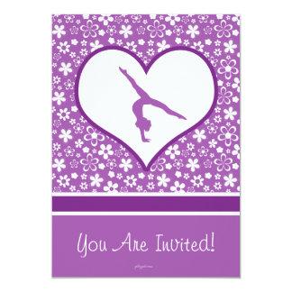 Personalized Purple Flowers Pattern Gymnastics Card
