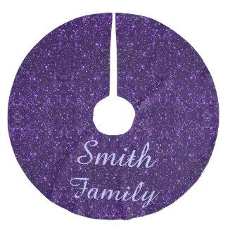 Personalized Purple Glitter Christmas Tree Skirt